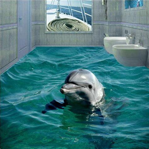 dolphin wallpaper for bathroom custom photo floor wall paper 3d bathroom cute dolphin