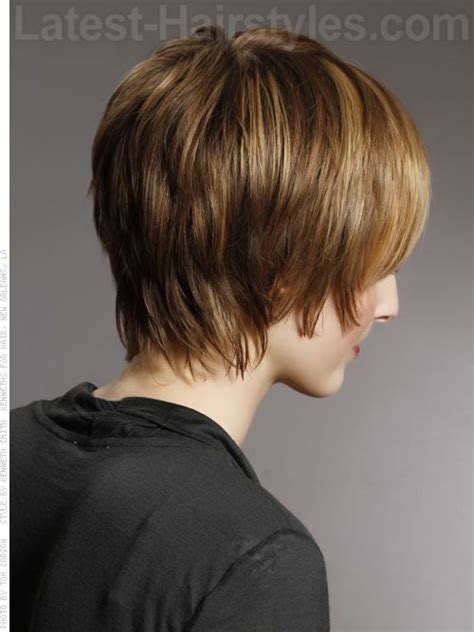 k mitchell short hairstyles with a soft bang shaggy chic layered highlighted hair with bangs back view