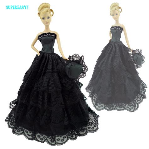 Kurhn Doll Mysterious Black Hat Princess fashion black gown princess strapless dress with hat clothes for doll 12