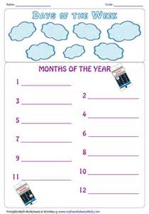 collections of months of the year worksheets for