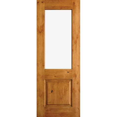 Half Lite Exterior Door Krosswood Doors 36 In X 80 In Rustic Half Lite Clear Low E Ig Unfinished Wood Alder Left