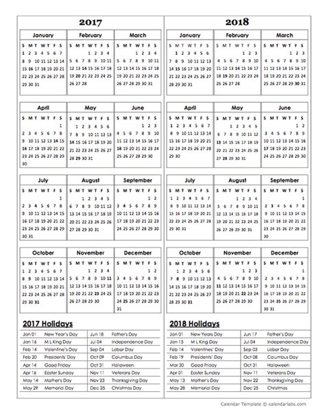 printable year calendar 2017 and 2018 two year calendar template 2017 and 2018 free printable