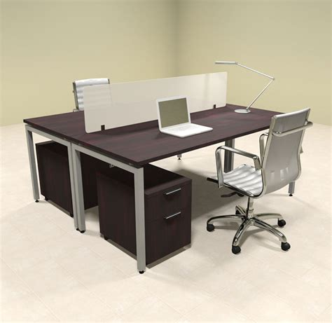 desk for two persons two person modern divider office workstation desk set of con fp23 ebay