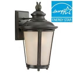 aged iron motion sensing outdoor led wall lantern hton bay 180 degree 1 light aged iron outdoor motion