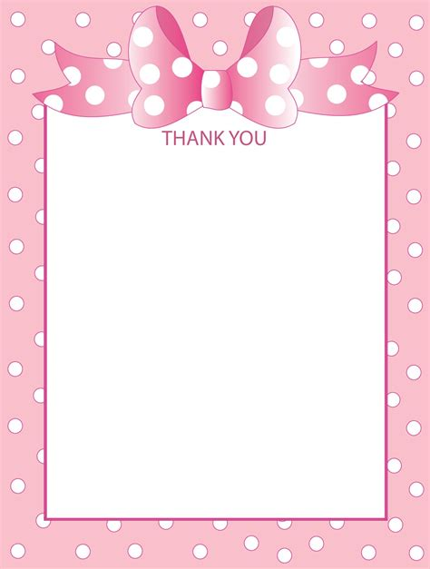 Minnie Mouse Thank You Card Template by Blank Thank You Cards New Calendar Template Site