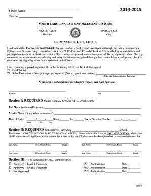 Sled Criminal Record Check Fillable Fsd1 Sled Volunteer Form Florence School District One Fsd1 Fax