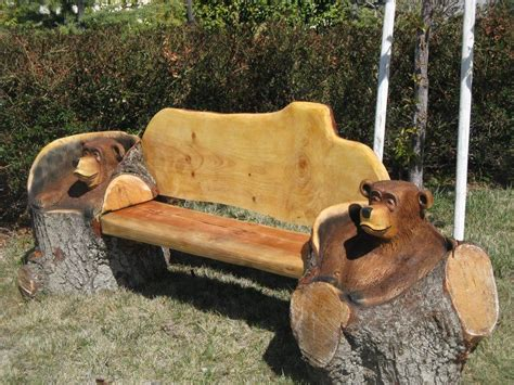 chainsaw bench carving chainsaw carved bear bench things i love pinterest