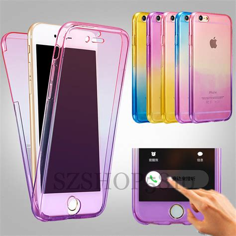 shockproof hybrid back front rubber clear cover for iphone 7 5 6 6s plus ebay