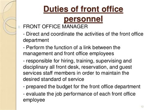 Front Desk Manager Responsibilities by Introduction To Front Office