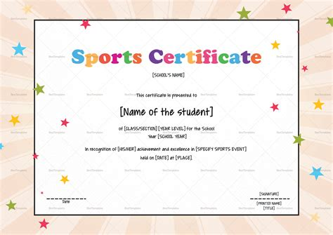 sports certificate templates free sports certificate design template in psd word