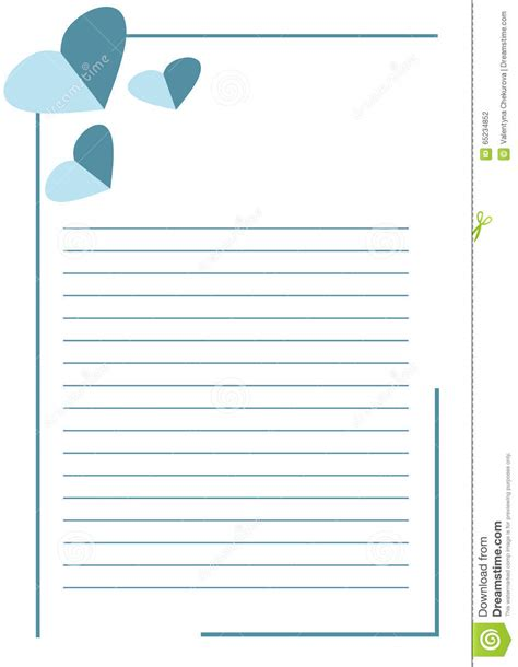 Vector Blank For Letter Or Greeting Card White Paper Form With Blue Hearts Lines And Border A4 Letter Template