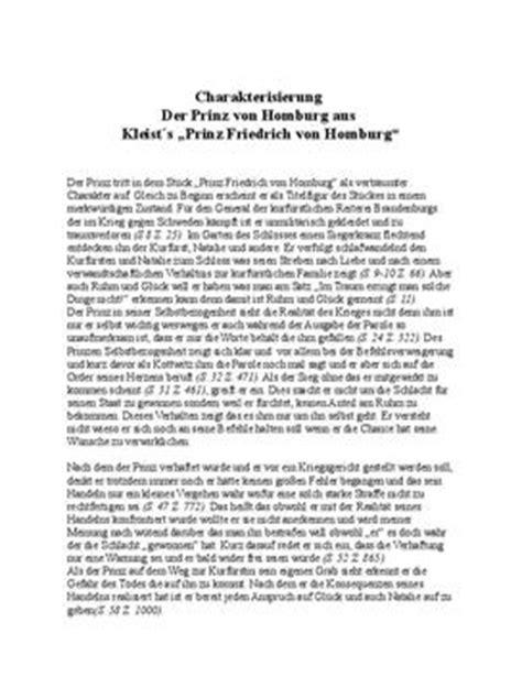 Muster Charakterisierung Prinz Homburg Charakterisierung Schulhilfe De