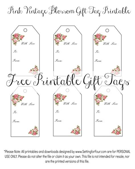 download printable gift tags vintage blossom free printable gift tags free printable