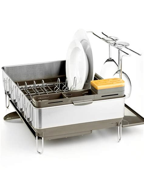 Simplehuman Drying Rack by Simplehuman Dish Rack Steel Frame With Wine Glass Holder