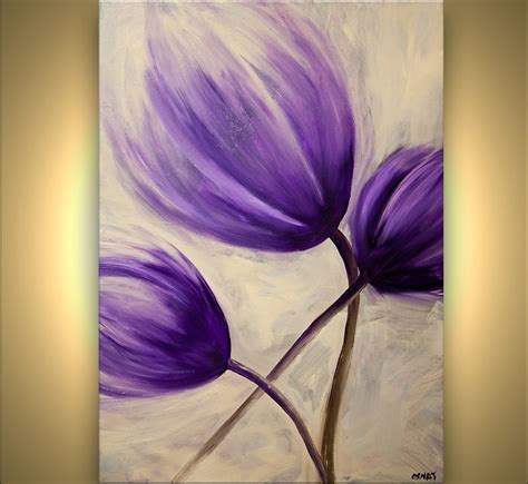 Modern Door Frame by Landscape Painting Purple Tulip Flower Abstract Painting