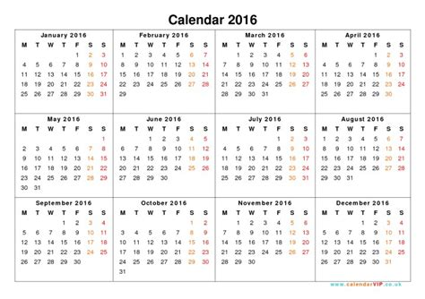 printable yearly calendar on one page calendar 2016 printable one page w holidays calendar