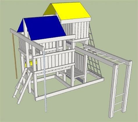 swing set playhouse plans detailed plans blue prints to build kids play set slide