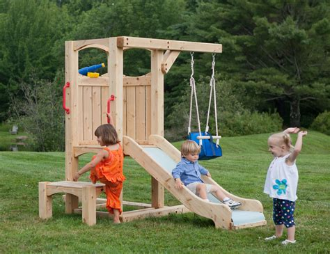 toddler backyard playsets frolic 4 wooden playset and swing set cedarworks