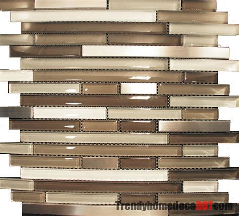 Glass Mosaic Tile Kitchen Backsplash 10sf Stainless Steel Beige Linear Glass Mosaic Tile