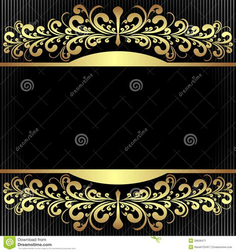 Glamor Glitter Tosca black background with royal golden borders stock