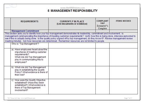 iso 9001 resources gap analysis checklist
