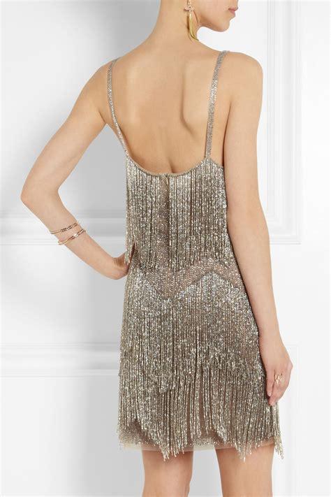 beaded fringe dress topshop fringed beaded tulle mini dress in metallic lyst