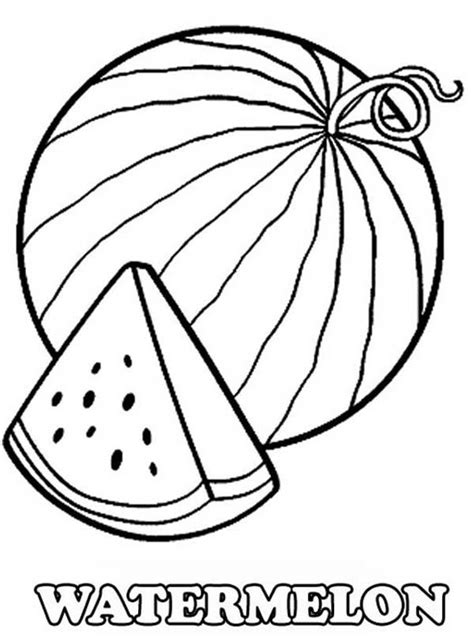 A Slice Of Fresh Watermelon Coloring Page Watermelon Watermelon Coloring Page