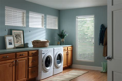 white faux wood blinds traditional laundry room orange county by budget blinds