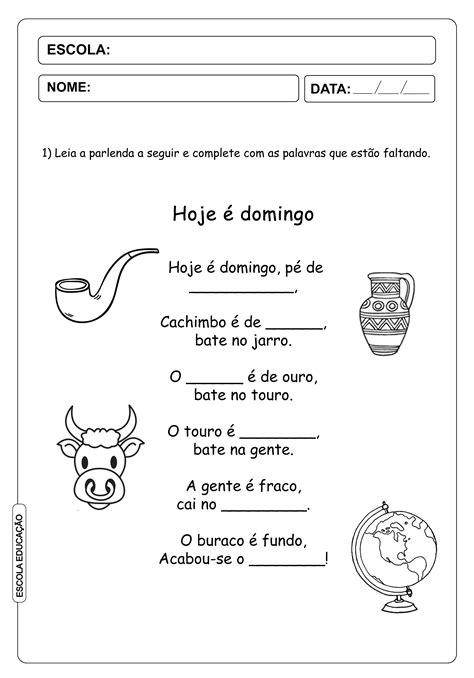 Parlendas para imprimir - atividades - Escola Educação