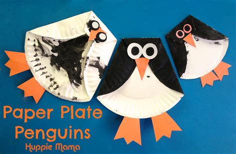 How To Make A Paper Plate Penguin - three paper plate penguins huppie