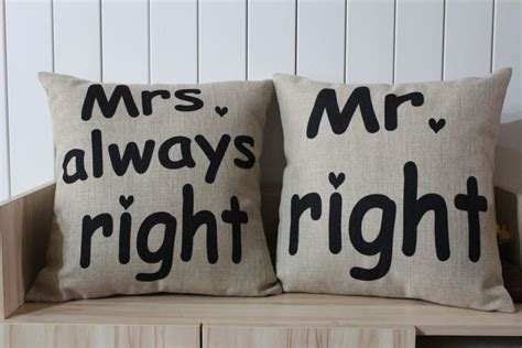 Mr Right Mrs Always Right Pillow by Wholesale Free Shipping Mr Right And Mrs Always Right Cushion Cotton Linen Pillow Printed Sofa
