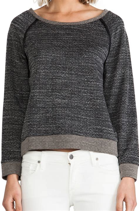Longsleeve Dgrey Leather Patch lyst sleeve raglan with leather patch in charcoal in gray