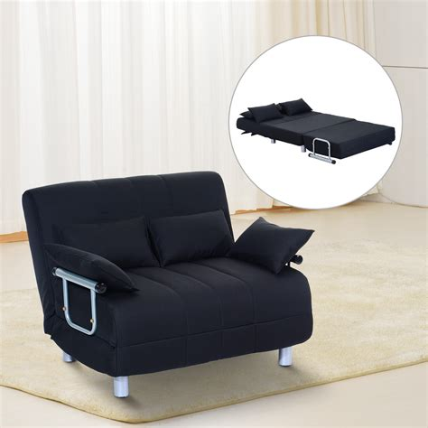 bed couch pillow homcom double sofa bed w pillows black aosom co uk
