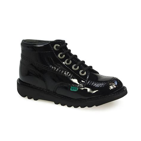 kickers shoes kickers kick junior black patent leather school boots
