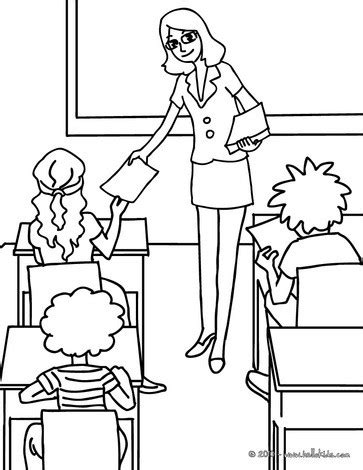teacher distributing sheets to the pupils coloring pages