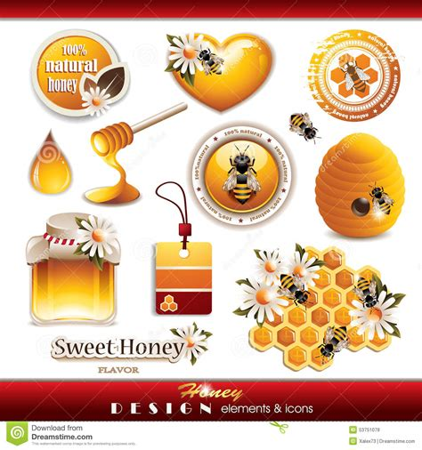 cute elements design vector set honey design elements and icons stock vector