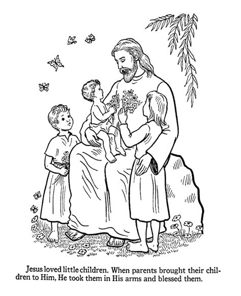 Jesus The Children Coloring Page free printable jesus coloring pages for