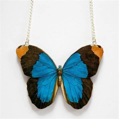 wooden butterfly necklace by ladybird likes