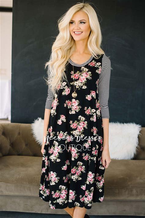 Stripes Flower Sabrina Dress stripes and floral modest dress modest dress for nursing
