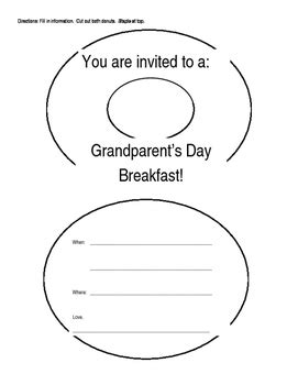 grandparents day card template grandparents day breakfast invitation template by