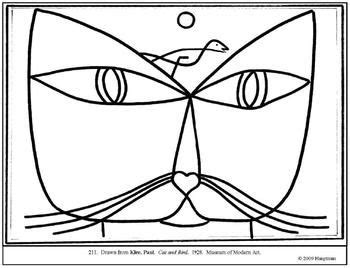 klee paul cat and bird coloring page and lesson plan