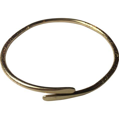 antique 14k solid gold bracelet etched bangle