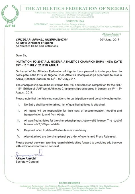 Invitation Letter Nigeria Of Chions Afn Announces July 13th 15th For 2017 All Nigeria Track Field