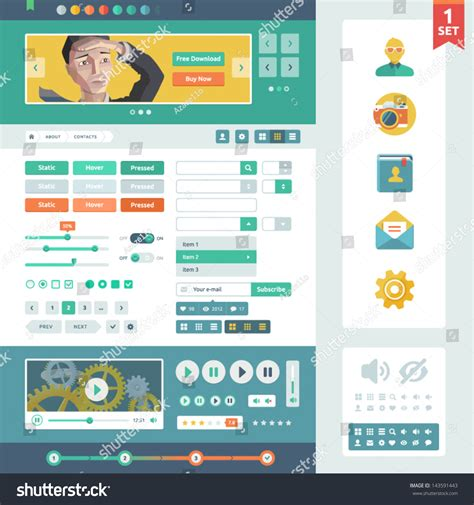 ddo ui layout save vector ui elements for web and mobile flat design trend