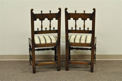 1930 Dining Room Furniture Set Of Eight Solid Carved Oak 1930s Jacobean Or Style Dining Room Chairs For Sale At 1stdibs