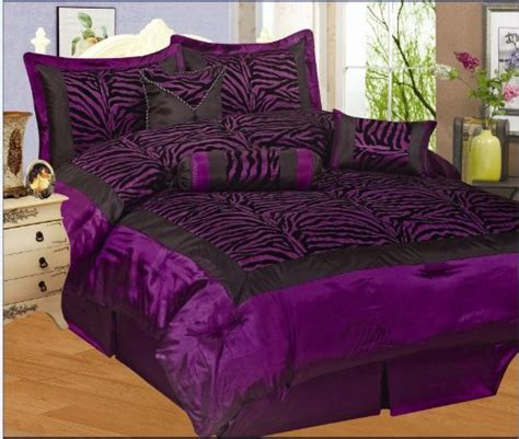 purple leopard print comforter set new 7pc faux silk flocking purple black zebra print queen