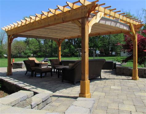 pergola with cover picturesque cedar wood patio cover for square pergola plans with light brown canvas canopy also