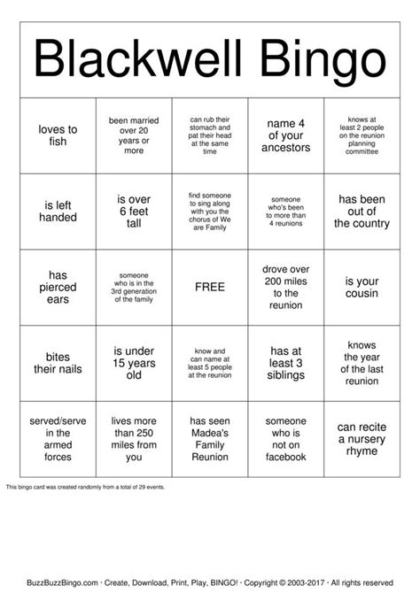 family bingo card template blackwell family reunion bingo cards to print