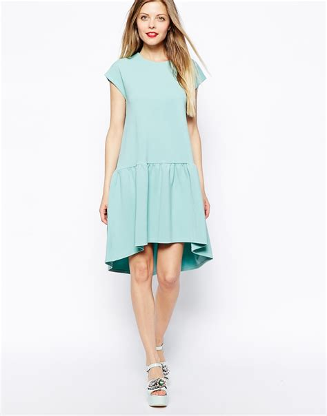 Dress Nsemock asos smock dress with dropped waist in texture in green