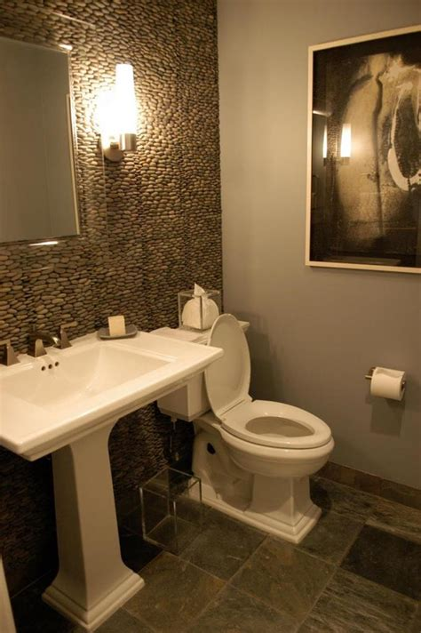 guest bathroom design stone ceramic floor tile with modern pedestal sink for